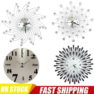 Stylish Silver/Black Diamante Beaded Jeweled Round Sunburst Metal Wall Clock Uk