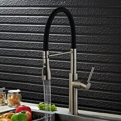 Contemporary Single Hole 1-Handle Kitchen Faucet Pull-Out Spout in Brushed Nicke