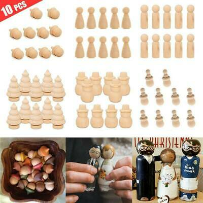 10X Wooden Wood Peg Dolls Little People Baby Child Peg Doll Kids Toy Crafts