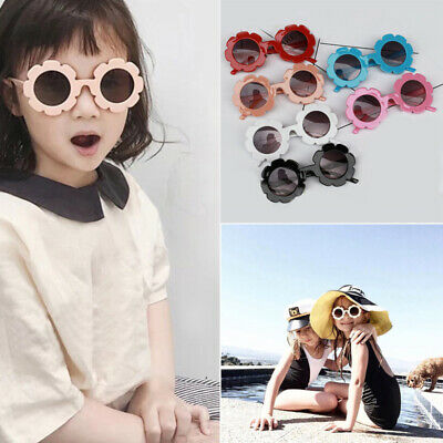 Kids Sunglasses Flower Boys Girls Round Glasses Children Baby Plastic Eyewear