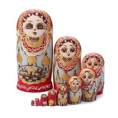 10 Layer Nesting Dolls Wooden Bear Hand Painted Russian Matryoshka Toy Kids Gift
