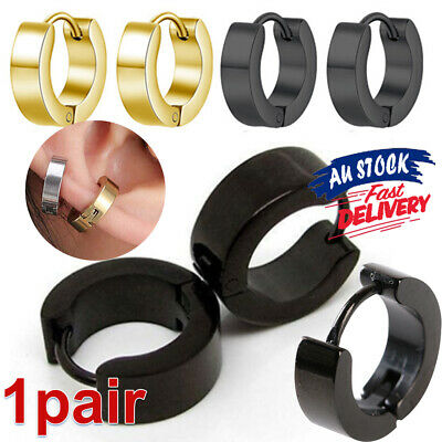 Mens Men's Hinged Earrings Hoop Women's Stainless Steel Women Huggie 1Pair Stud