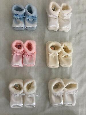 2 x Pairs Newborn Baby Boy Girl Soft Shoes 100% Acrylic 0 to 3 Months