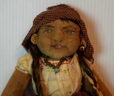 Beautiful Folk Art Primitive Hand Made Cloth Doll Antique Textiles Lots of Dtail