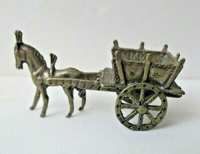 Antique Miniature European 800 Sterling Silver Horse Drawn Cart With Hallmarks