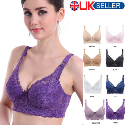 Womens Padding Full Coverage Lace Cotton Gather Underwear Wire Bra Plus Size UK