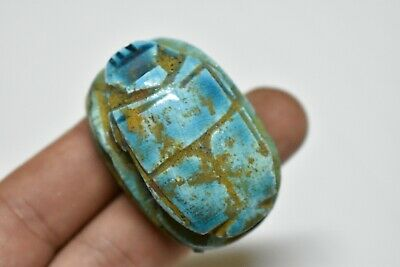 ANCIENT ANTIQUE EGYPTIAN EGYPTIAN glazed faience scarab j