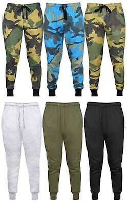 Mens Plain Camo Fleece Joggers Bottoms Jogging Pants Gym Fitness Sports Trousers