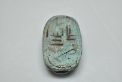 ANCIENT ANTIQUE EGYPTIAN EGYPTIAN glazed faience scarab c