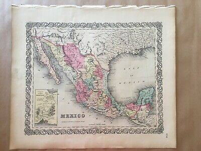 Colton Atlas 1855, The United State Of Mexico 1st Edition + Info Page.