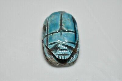 ANCIENT ANTIQUE EGYPTIAN EGYPTIAN glazed faience scarab l