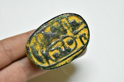 ANCIENT ANTIQUE EGYPTIAN EGYPTIAN glazed faience scarab q