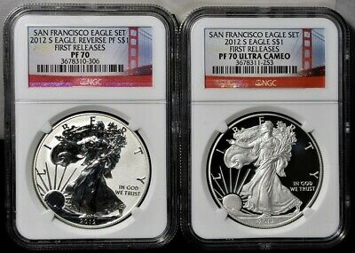 2012-S 2 Coin Silver American Eagle Set - NGC PF70/70 First Releases
