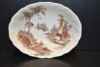 Vintage The Old Mill England Johnson Bros Serving Bowl! Beautiful Engraving!