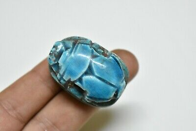 ANCIENT ANTIQUE EGYPTIAN EGYPTIAN glazed faience scarab k
