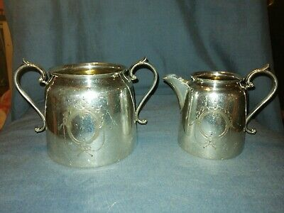 Antique Silver Plated Britannia Metal Milk Jug & Sugar Bowl. Angloid.