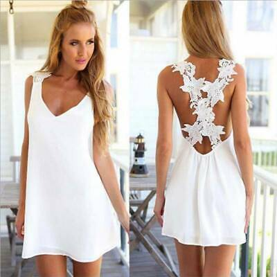 Sexy Women Boho V-Neck Sleeveless Cross Back Strappy Lace Dress Holiday Sundress