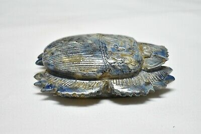 ANCIENT ANTIQUE EGYPTIAN EGYPTIAN glazed faience large scarab c