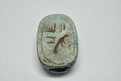 ANCIENT ANTIQUE EGYPTIAN EGYPTIAN glazed faience scarab m