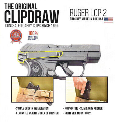 Clipdraw Belt Clip for Ruger LCP 2 II 380 IWB OWB Black - Right LCP II Holster