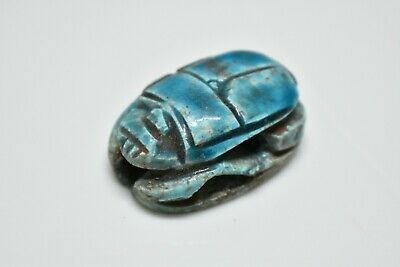ANCIENT ANTIQUE EGYPTIAN EGYPTIAN glazed faience scarab d