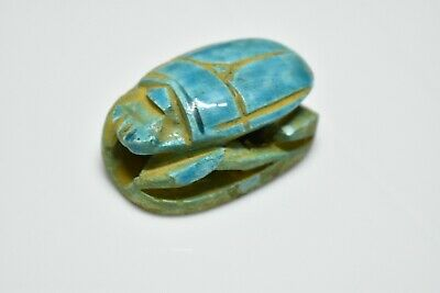 ANCIENT ANTIQUE EGYPTIAN EGYPTIAN glazed faience scarab h