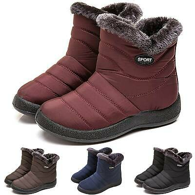 Women Winter Snow Waterproof Warm Fur Lined Ankle Boots Zip Flat Booties Shoes