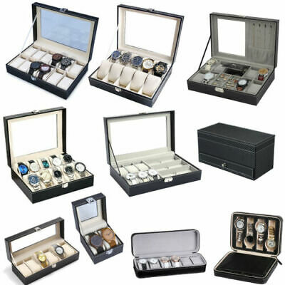 8/9/12/10/12Grids Watch Display Case PU Leather Jewelry Storage Box Organize