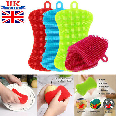 4pcs Silicone Dish Washing Cleaning Brush Sponge Kitchen Cleaner Pad Scrubber H