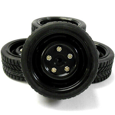 22135 1/10 Scale RC Car On Road Wheel and Road Tread Tyre Black Plastic x 4