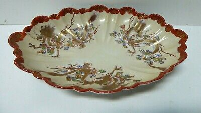 Old Chinese Porcelain Hand Painted Golden Dragon Bowl Fluted Shell Dish