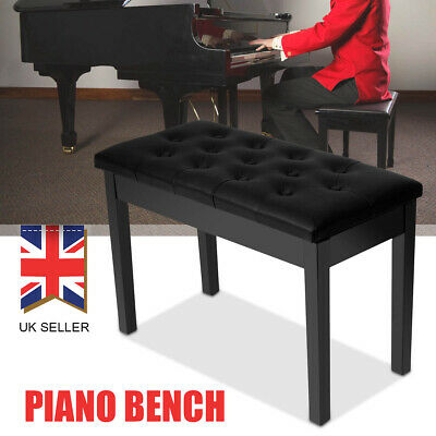 Xmas Double Person Leather Piano Wood Bench Storage Keyboard Stool Padded Seat