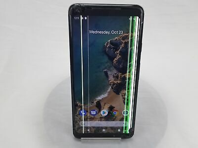 Google Pixel 2 XL Black 64GB Unlocked Cracked Screen Faulty LCD Working