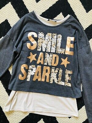 ☀GEORGE GIRLS GREY SEQUIN LAYERED TOP☀TSHIRT Age 11-12☀Grey Gold Beige☀Sparkle