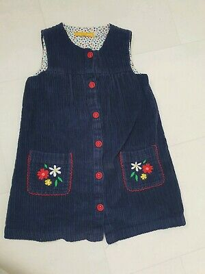 Little Bird By Jools Oliver Blue Red Cord Autumn Winter Dress Size Age 2-3 Years