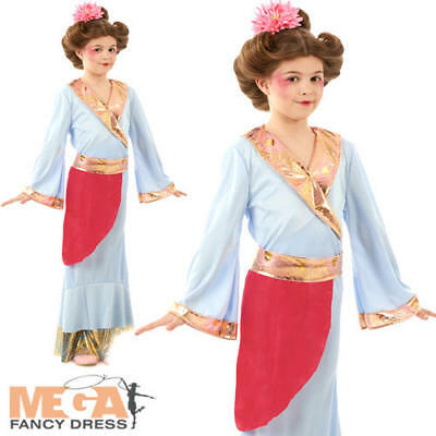 Japanese Princess Girls Fancy Dress National Oriental Geisha Kids Childs Costume