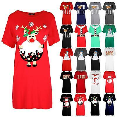 Ladies Womens Xmas Baggy Reindeer Pudding Oversized Christmas T Shirt Mini Dress