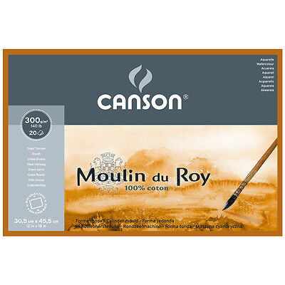 Canson Moulin du Roy WC Paper Block 9x12.5in 300gsm 20 Sheets Roug