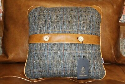 Harris Tweed Uist Night & Brown Aniline Leather Scatter Cushion