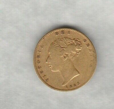 1865 Die Number 19 Victoria Gold Half Sovereign In Good Fine Or Better Condition