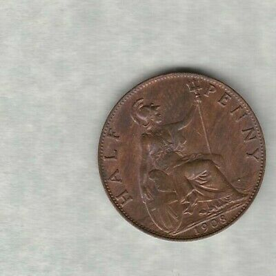 1908 Edward Vii Halfpenny In Good Extremely Fine Condition