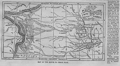 Map Of The Route To Pike's Peak Gold Mines Emigrant Mail Route Missouri River