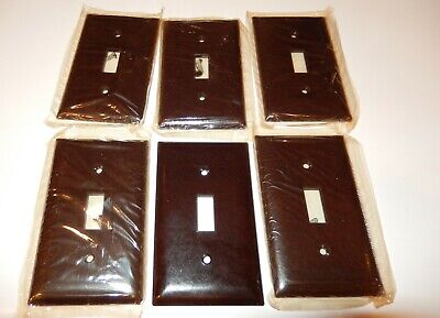Lot of 6 Vintage Slater light switch plate covers Sta-Kleen Bakelite Brown NEW