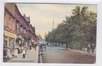 a england Warwickshire old antique postcard english sutton coldfield parade