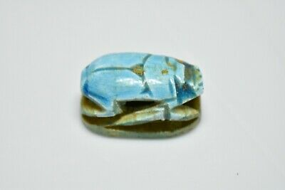 ANCIENT ANTIQUE EGYPTIAN EGYPTIAN glazed faience scarab e