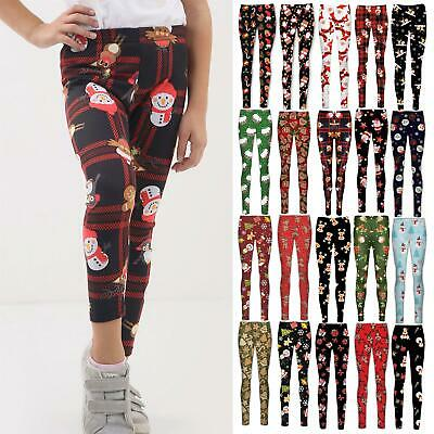 Girls Kids Christmas Reindeer Ginger Bread Xmas Tree Full Ankle Jegging Leggings