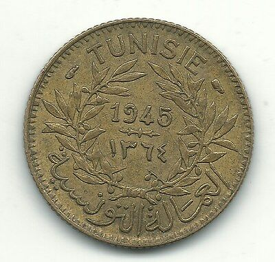 A Higher Grade- 1945 Tunisia 1 Franc Coin-May827