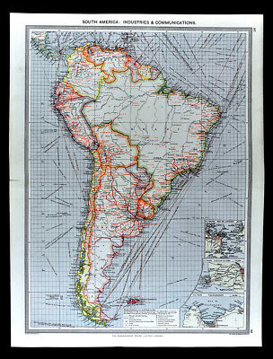 1907 Map South America Industry Communication Steamer Routes Brazil Argentina