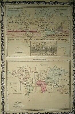 3 Vintage 1863 WORLD REFERENCE MAPS Old Antique Original Authentic Atlas Maps