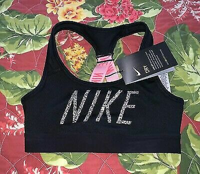 Nike Girl's Dri-Fit Medium Support Printed Compression Sports Bra AT3244-010